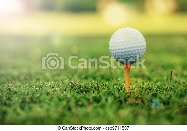 Golf ball standing on tee