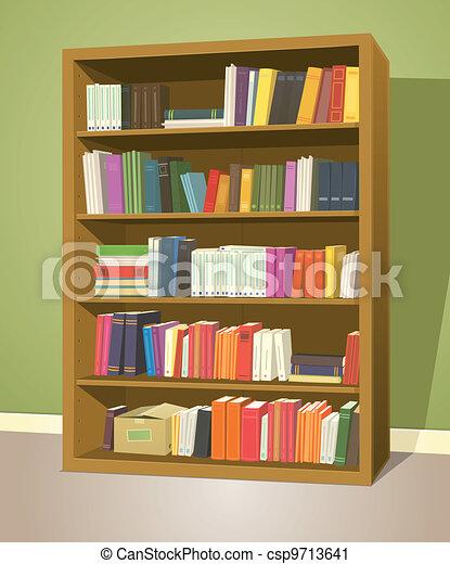Vector clip art de estante libros biblioteca - Estante para libros ...