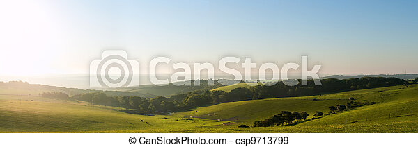 Summer sunrise over English countryside rural landscape - csp9713799