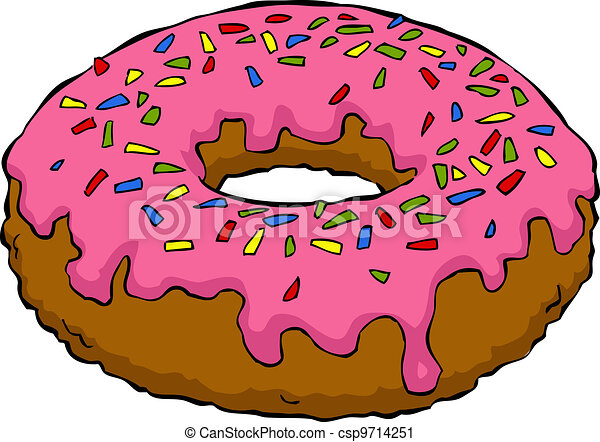 Vector Clip Art of Cartoon donut - Donut on a white background ...