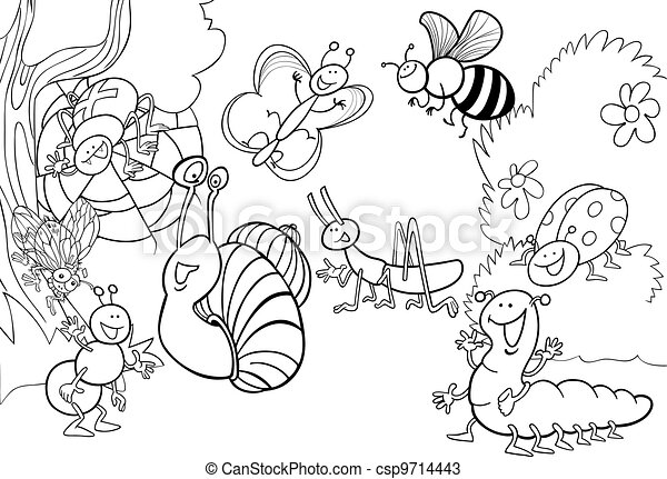 cartoon insects on the meadow for coloring - csp9714443
