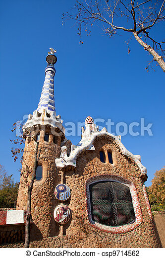Barcelona Park Guell Gingerbread House of Gaudi - csp9714562