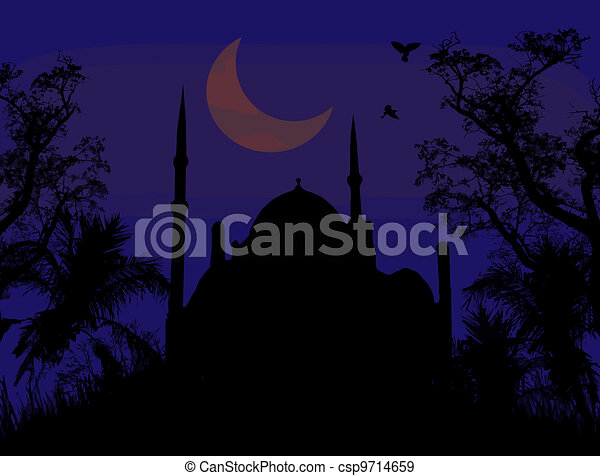 Mosque and Ramadan Moon - csp9714659