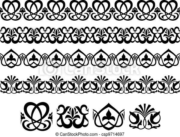 Retro ornaments and embellishments - csp9714697
