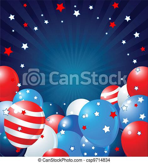 Patriotic balloons border - csp9714834