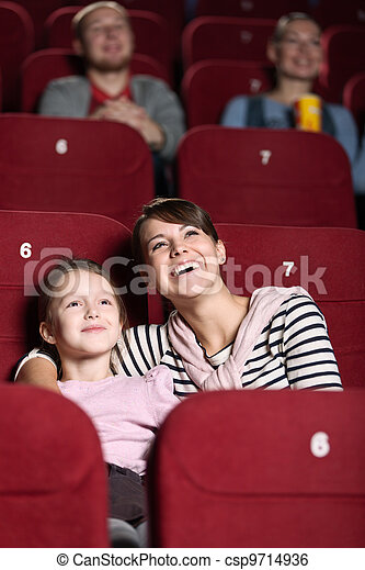Young girl in the movie - csp9714936