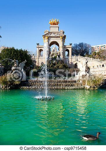 Barcelona ciudadela park lake fountain and quadriga - csp9715458