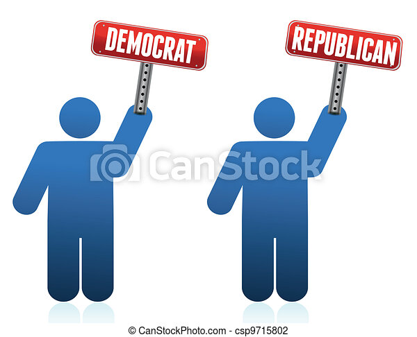 democrat and republican icons - csp9715802