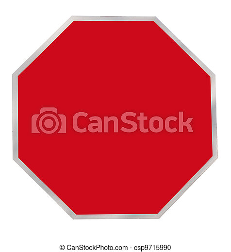 Red Octagon Blank Sign - csp9715990