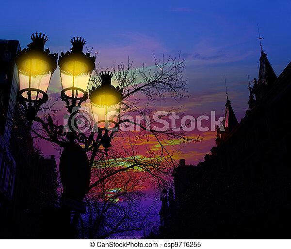 Barcelona Rambla Catalunya streetlights backligth - csp9716255