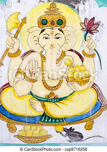 Hindu elephant-headed God. - csp9716258