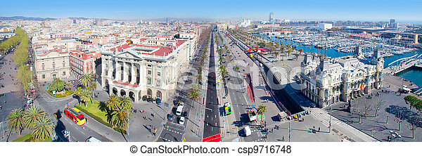 Aerial panoramic Barcelona view Port Passeig Colon - csp9716748