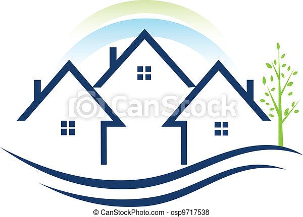 Houses apartments with tree logo - csp9717538