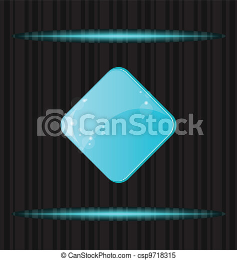 Blue glossy blank web button with reflection - csp9718315