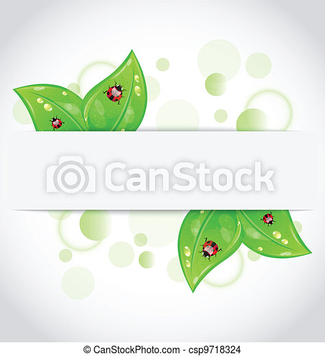 Eco green leaves with ladybugs sticking out of the cut paper - csp9718324