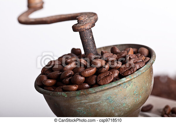 wooden Coffee grinder with coffe beans - csp9718510