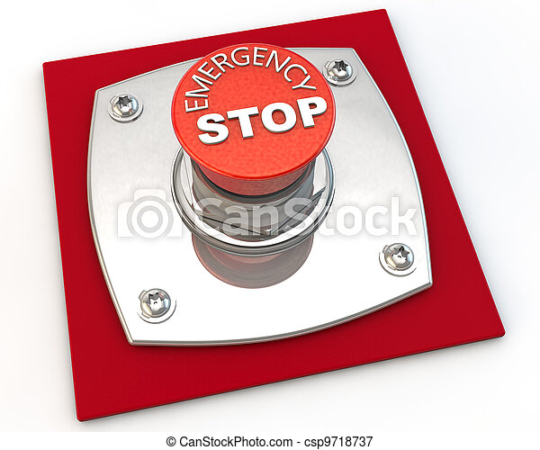 Emergency Stop button over white background - csp9718737
