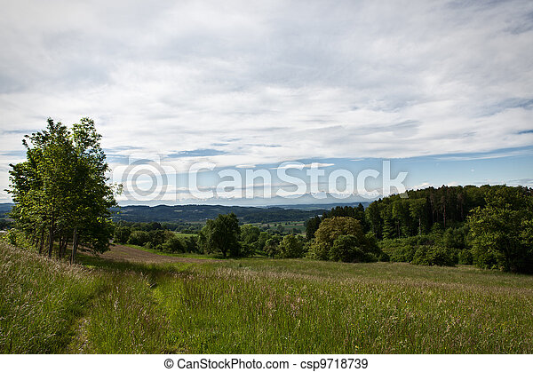 Alp-view on a cloudy sunny day near of lake constance - csp9718739