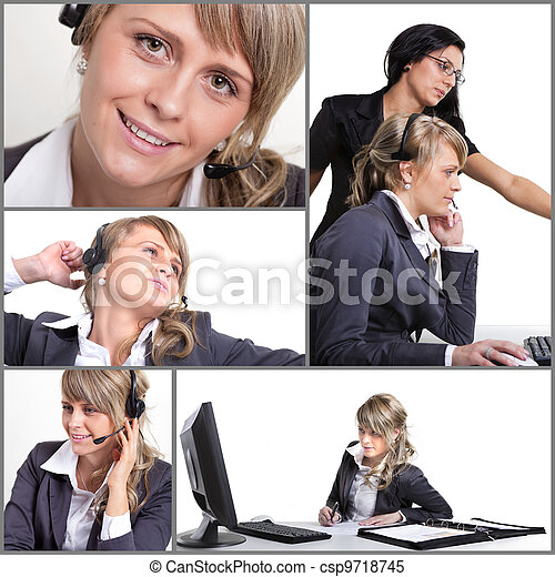 Office collage of a call center agent - csp9718745