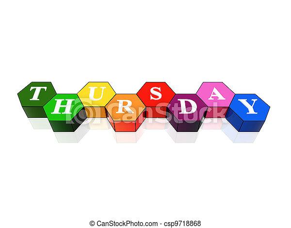 thursday in 3d coloured hexagons - csp9718868