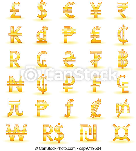 Golden currency symbols - csp9719584