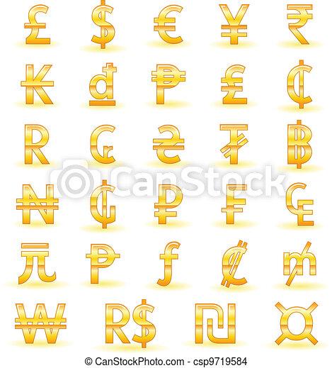 Golden currency symbols - csp9719584