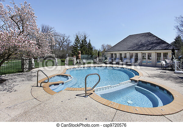 Swimming pool with attached sauna - csp9720576