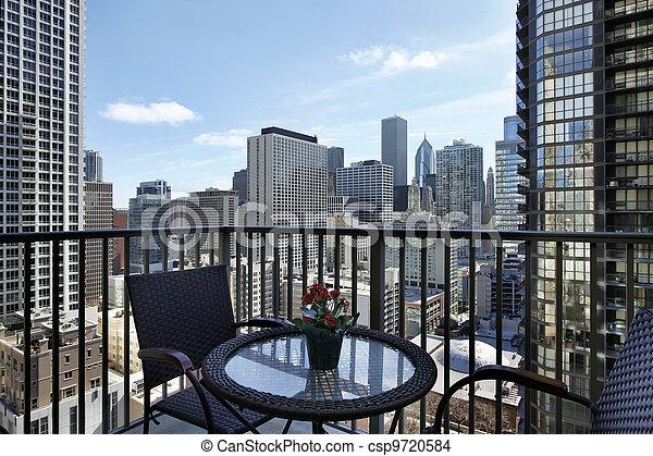 City view from condo balcony - csp9720584