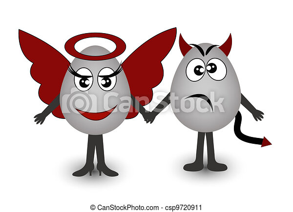 Two amusing eggs angel and demon - csp9720911