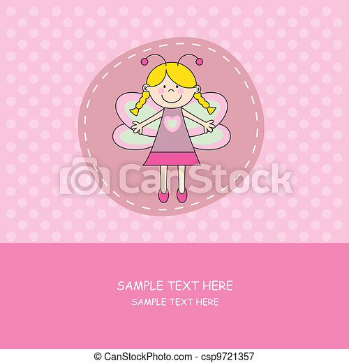 girl with butterfly costume  - csp9721357