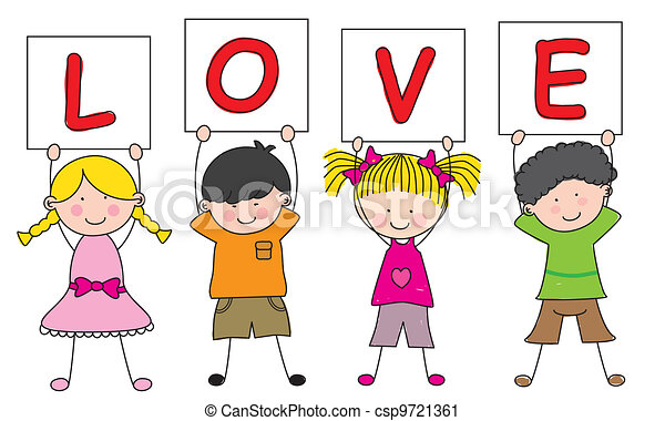 children with a sign saying love - csp9721361