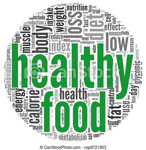 Healthy food concept in tag cloud - csp9721953