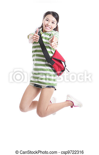 student girl jumping and good hand gesture - csp9722316