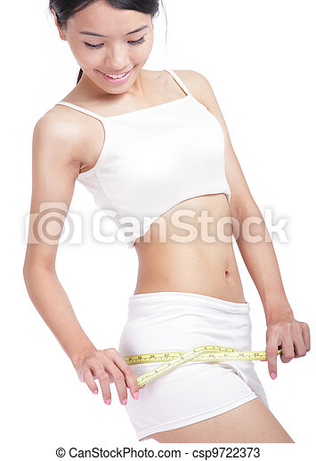 Woman measuring perfect shape of beautiful hips - csp9722373