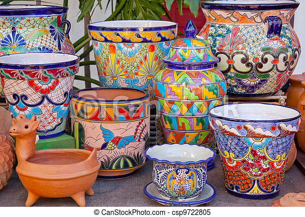 Mexican Pots and Decorations Old San Diego Town California - csp9722805