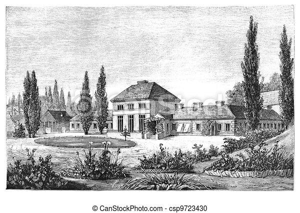 Illustration de campagne maison paysage polonais - Dessin maison de campagne ...