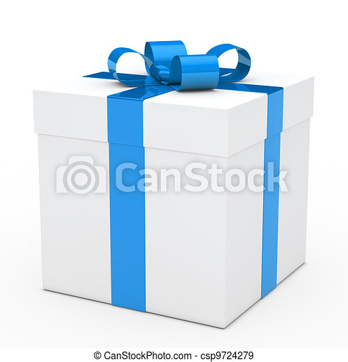 gift box blue ribbon - csp9724279