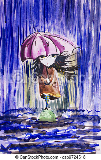 sad little girl with ragged umbrella under rainfall.Watercolor image - csp9724518