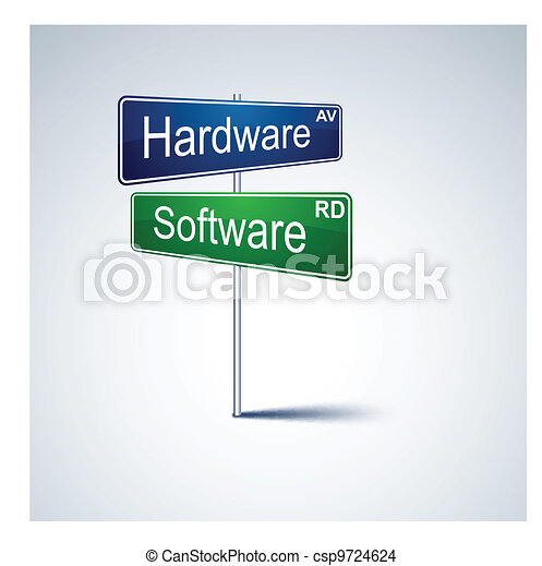 Hardware software direction road sign. - csp9724624