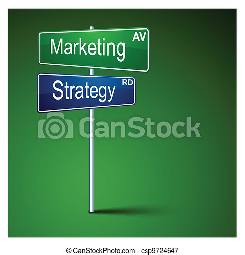 Marketing strategy direction road sign. - csp9724647