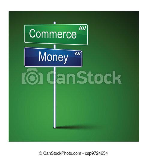 Commerce money direction road sign. - csp9724654