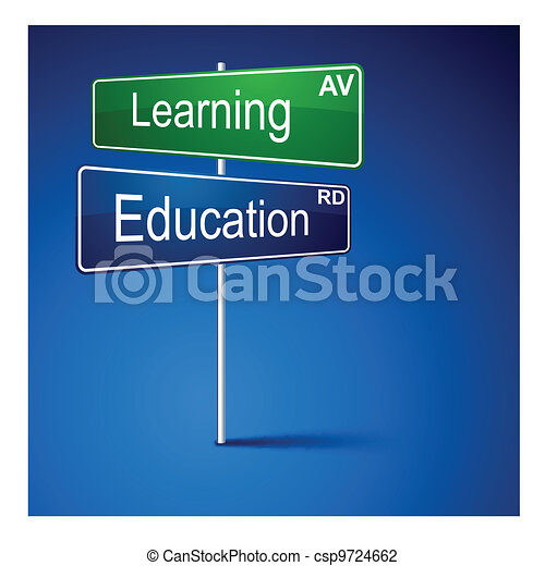 Learning education direction road sign.  - csp9724662