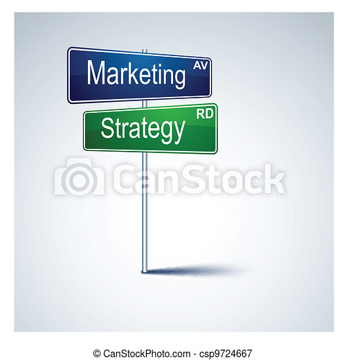 Marketing strategy direction road sign. - csp9724667