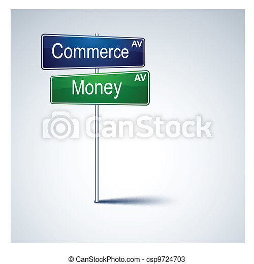 Commerce money direction road sign.  - csp9724703