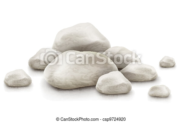 pile of stones isolated on white background - csp9724920