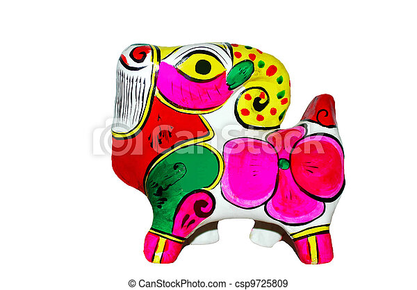 coloridos, cabra, brinquedo, feito, argila - csp9725809