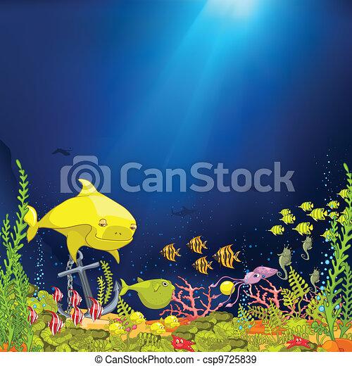 Ocean Underwater Cartoon - csp9725839