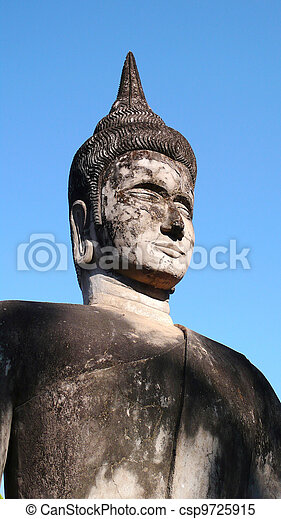 Historic buddha sculpture in Laos - csp9725915