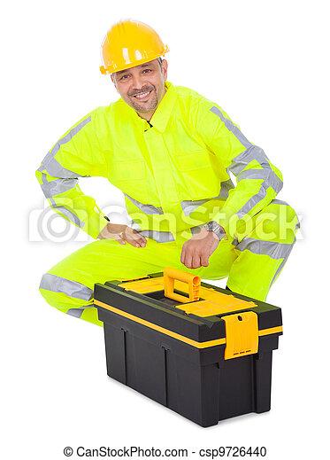 Portrait of worker wearing safety jacket - csp9726440