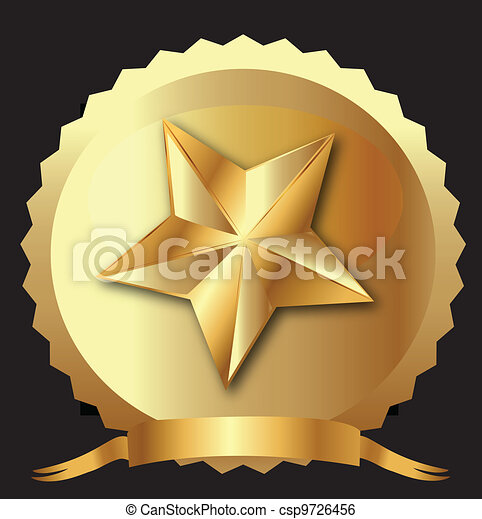 Star seal in gold with ribbon - csp9726456